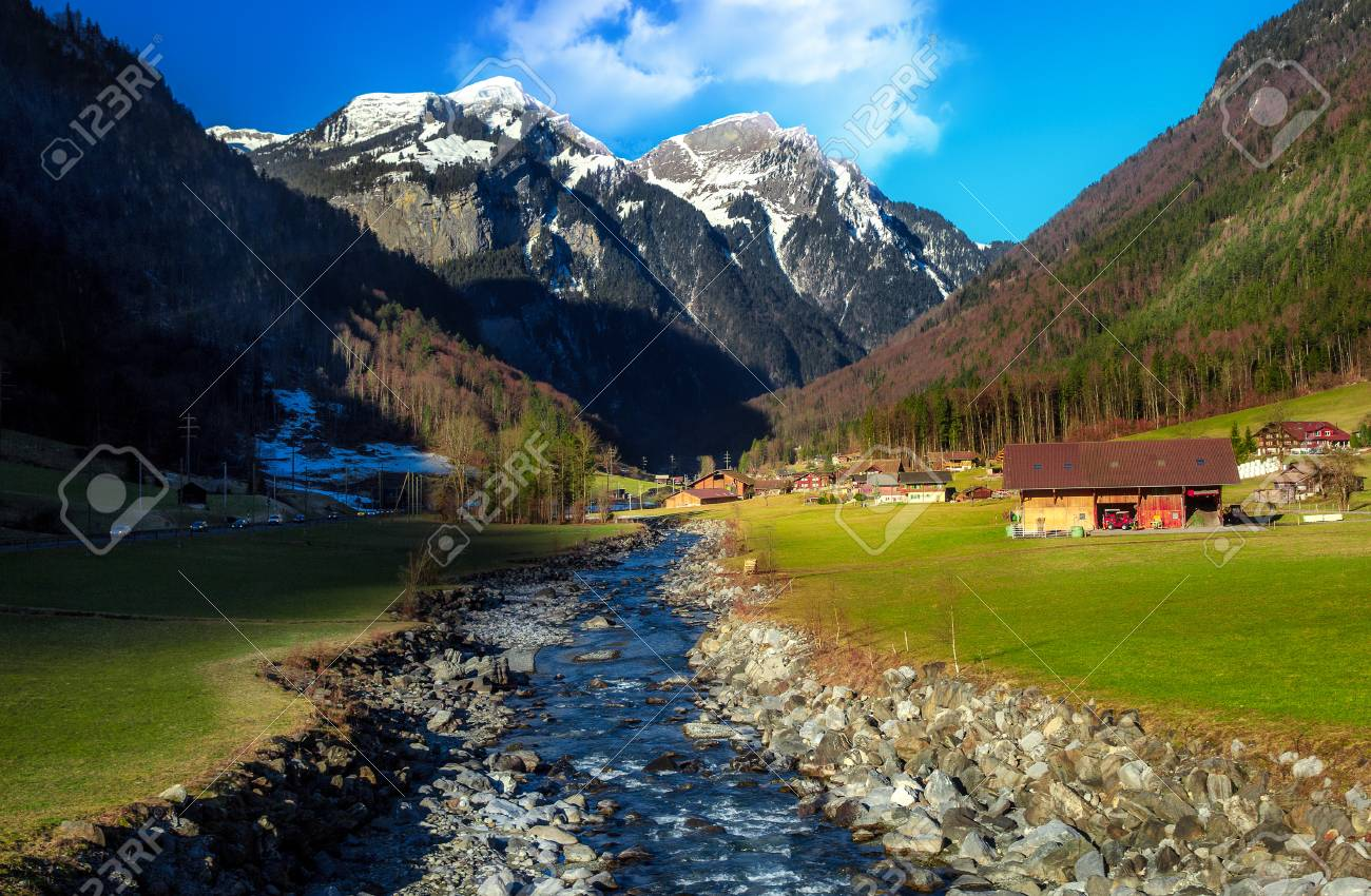 Beautiful Scenic Landscape In Winter Interlaken Switzerland Europe Stock Photo 87962330