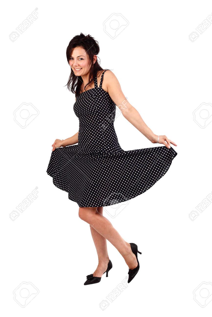 2f9425bd5 Foto de archivo - Mujer beautifyul jóvenes posando en su vestido manchado
