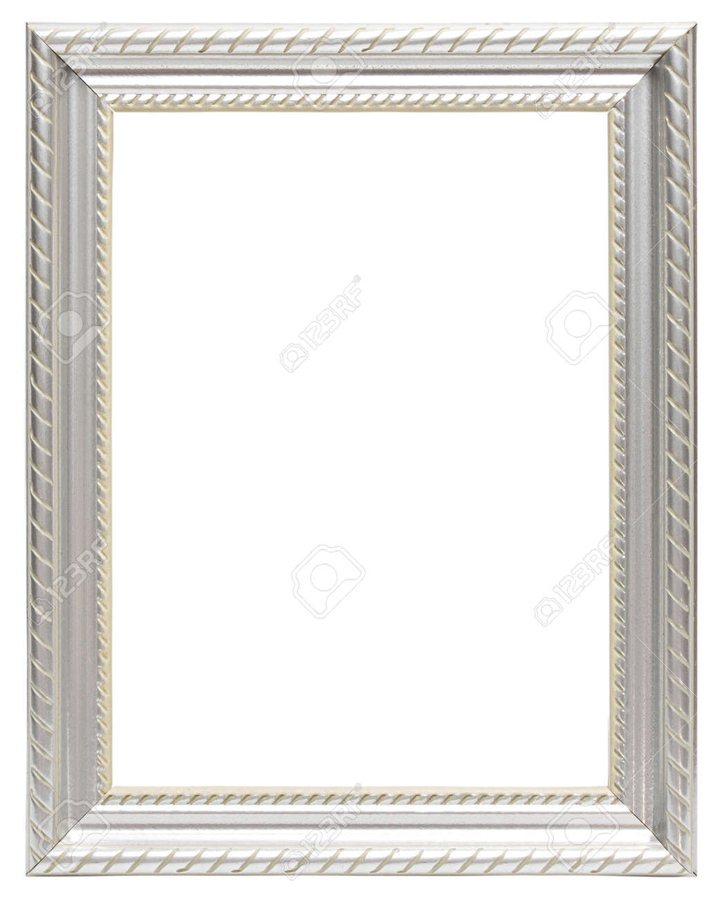Silver Frame Isolated On White Background Stock Photo, Picture And ...