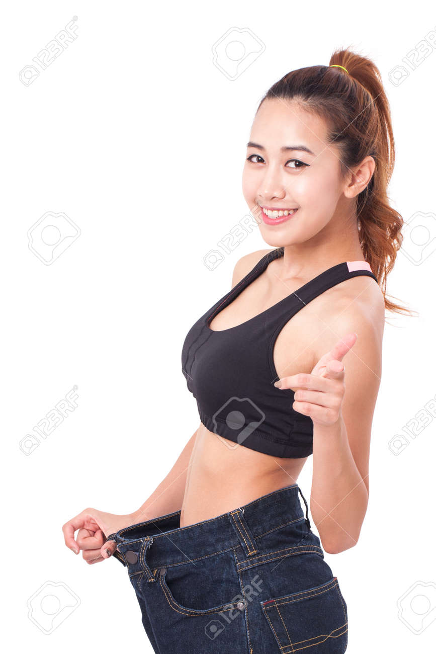 Background image too big - Stock Photo Young Slim Woman Wearing Too Big Jeans On White Background