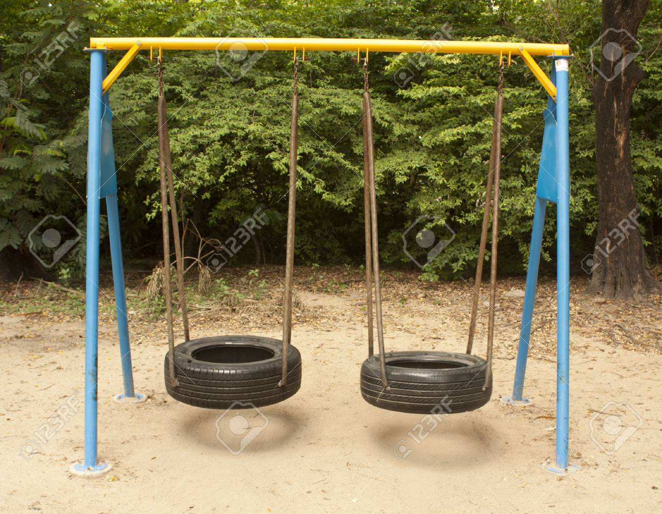 Swing Made Of Tire Car In Playground Stock Photo Picture And Royalty Free Image Image 31038942