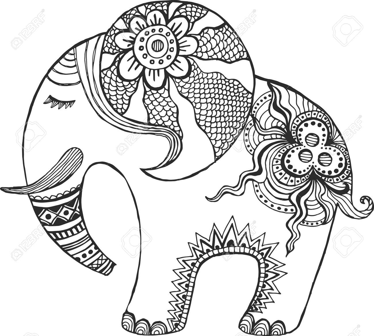 Indian Elephant Painted By Hand Royalty Free Cliparts Vectors