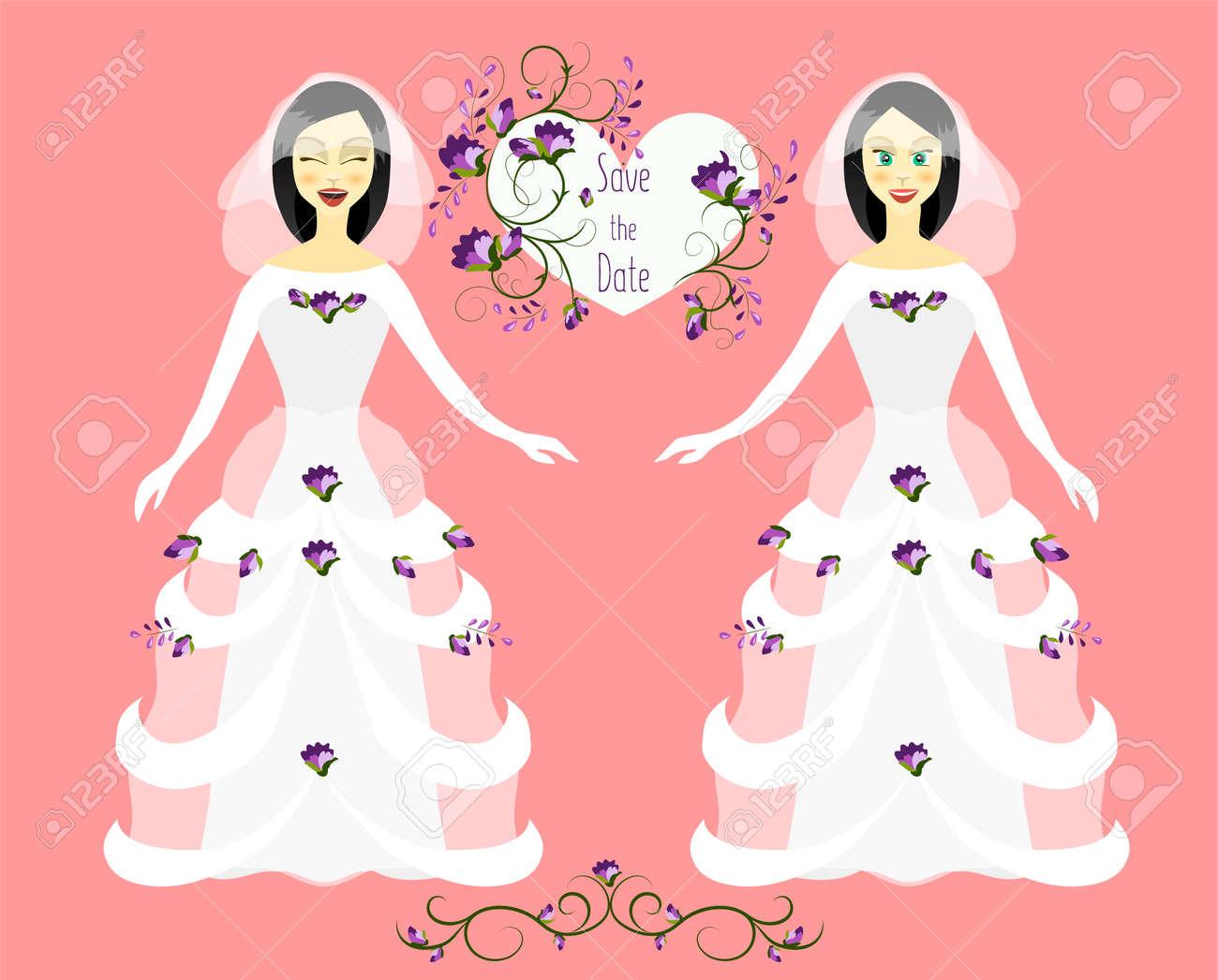 Guardar Ilustración De Fecha Día De La Boda Plano Doodle Arreglo Floral De Flores Estilizadas Muchacha En El Vestido De Boda Blanco Con Las