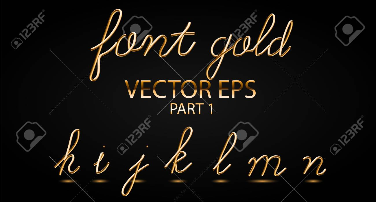 Gold 3D Typeset with Rounded Shapes  Font Set of Painted Letters