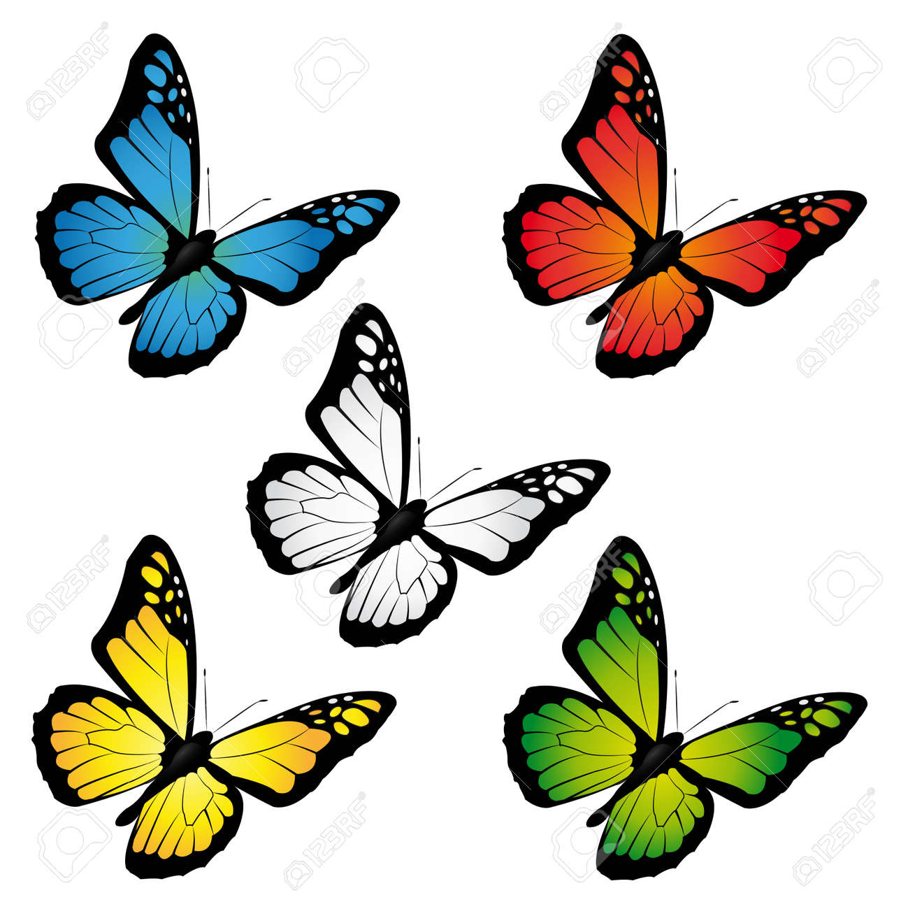 butterflies in different colours Stock Vector - 14129526