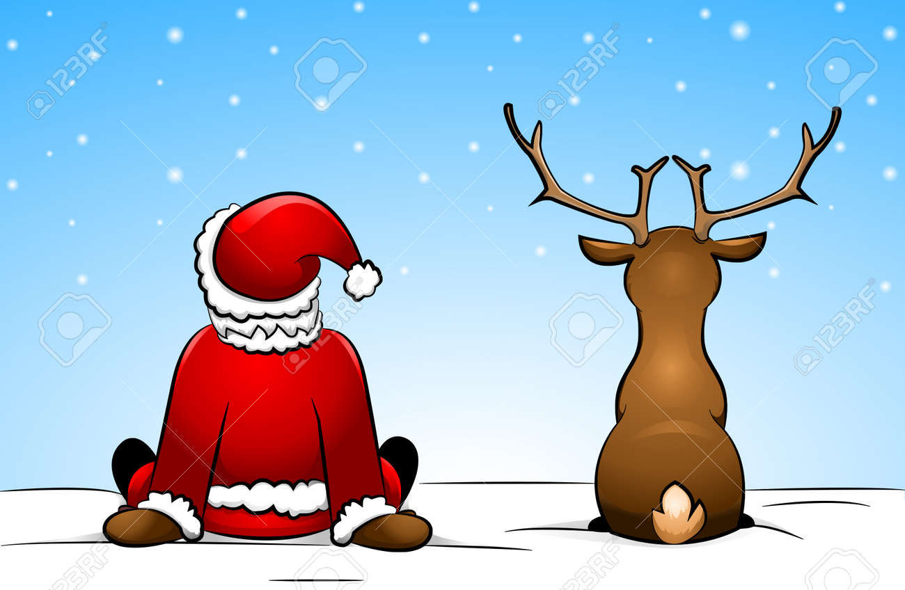 santa claus and a reindeer royalty free cliparts vectors and