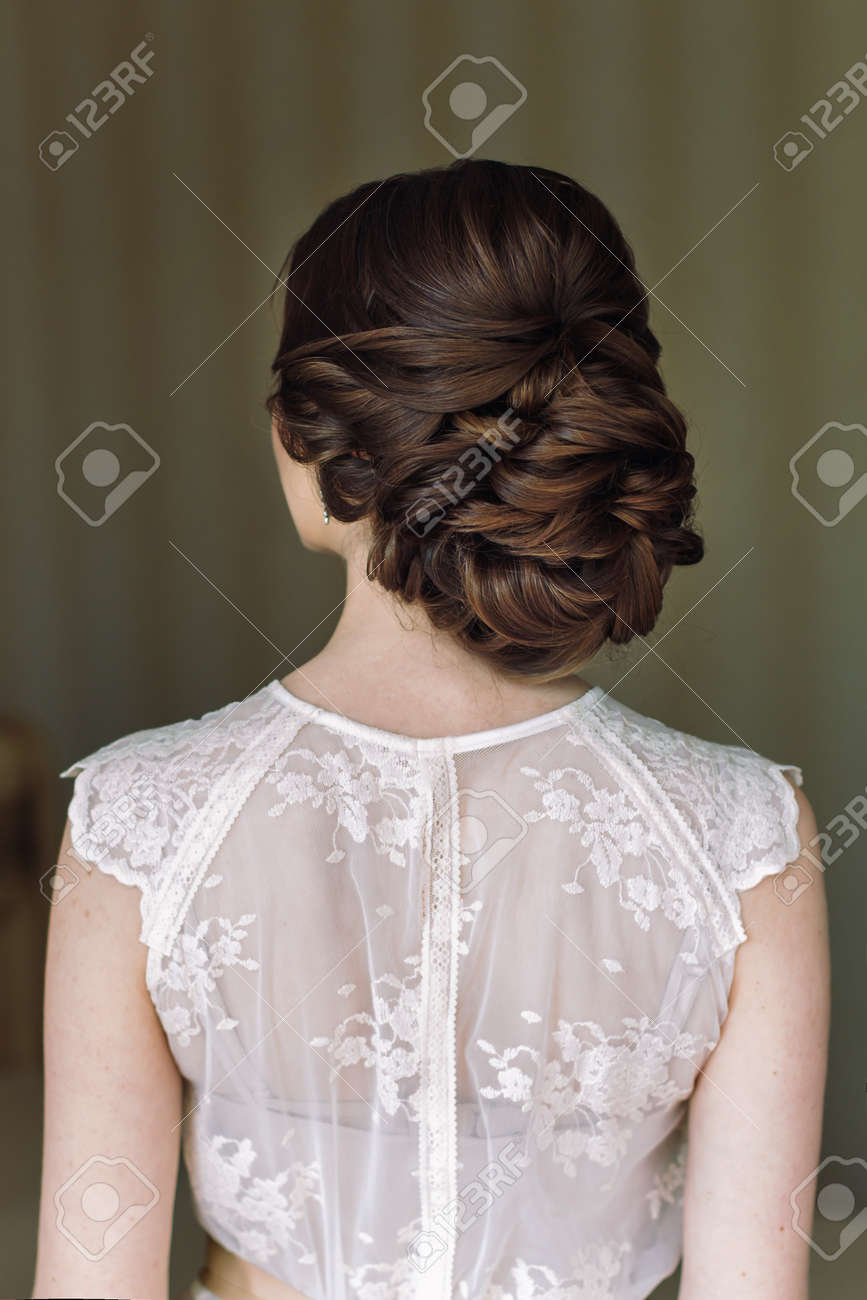 Bride Hairstyle Look From The Back Stock Photo Picture And