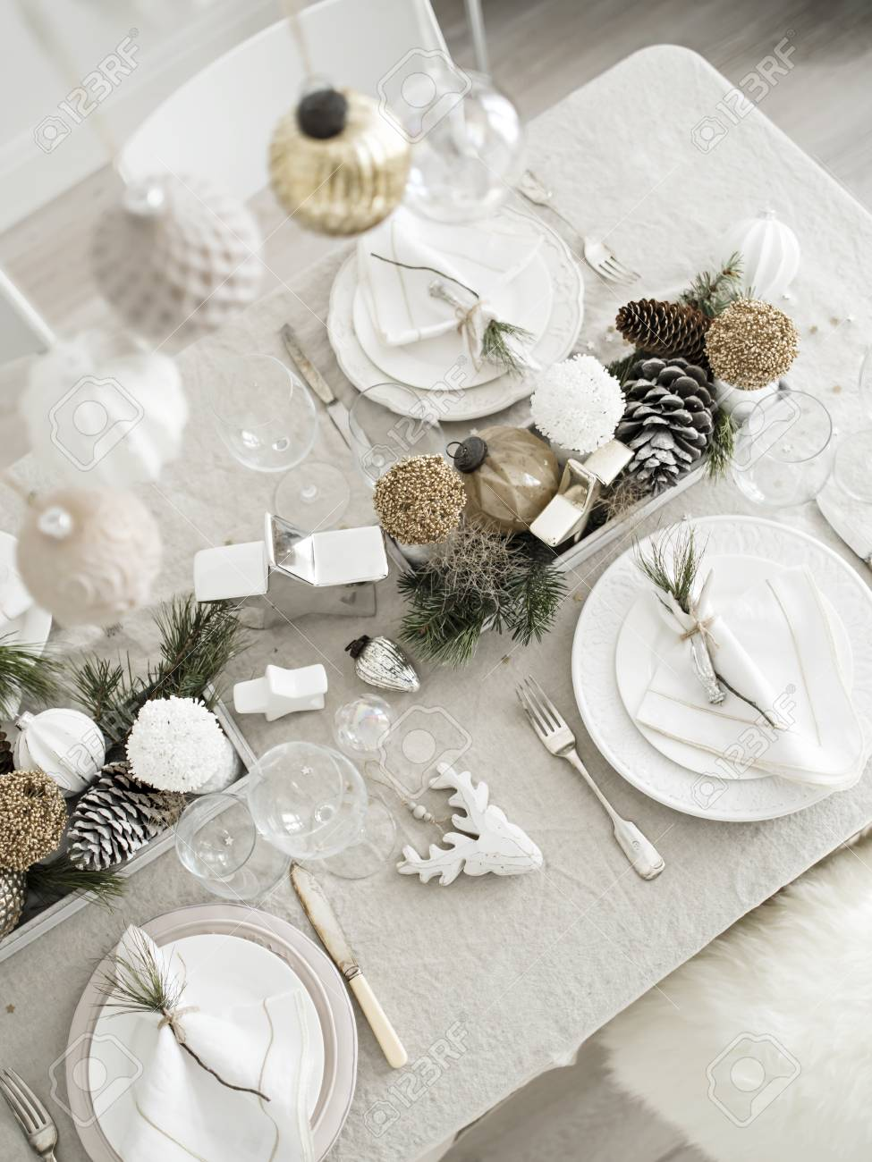 Xmas Dinner In Living Room Plate With Linen Napkin Napkin Holders Stock Photo Picture And Royalty Free Image Image 101792173