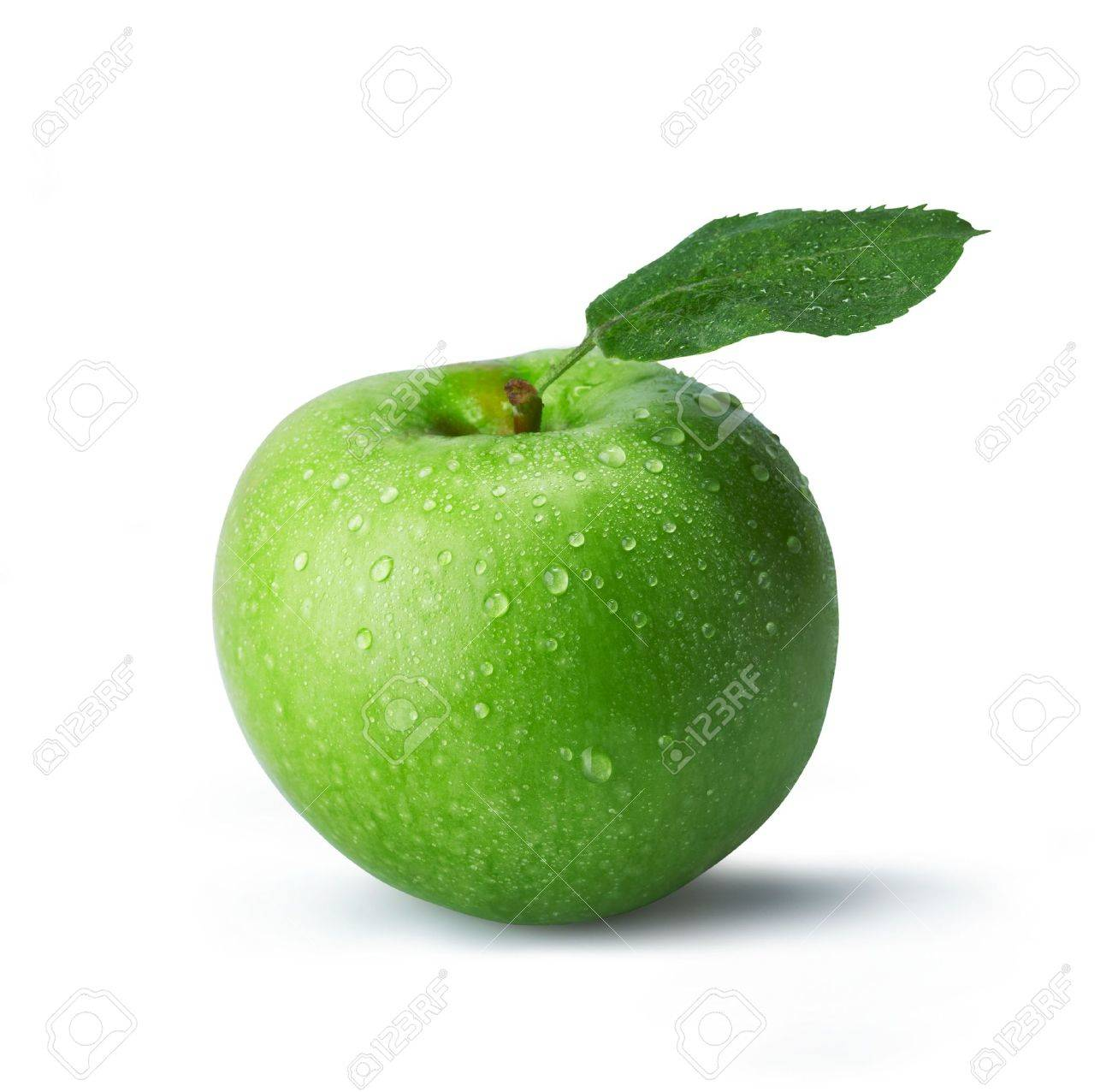 Fresh green apple with drops. The file includes a clipping path.  Professionally retouched high quality image. Stock Photo - 5925015