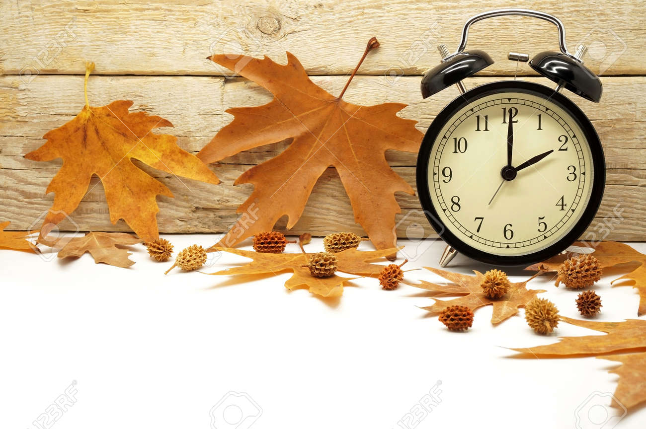 Clock stock photos royalty free clock images and pictures autumn time change fall back maple leaves and an alarm clock on a wooden background amipublicfo Image collections