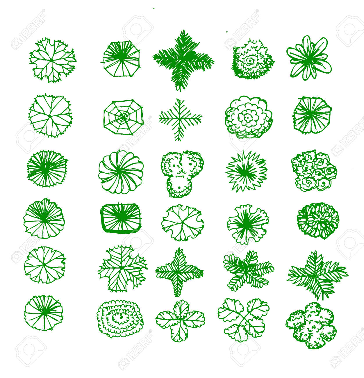 Plant top view vector in group download free vector art stock - Tree Top View Trees Top View For Architecture Landscape Design Projects