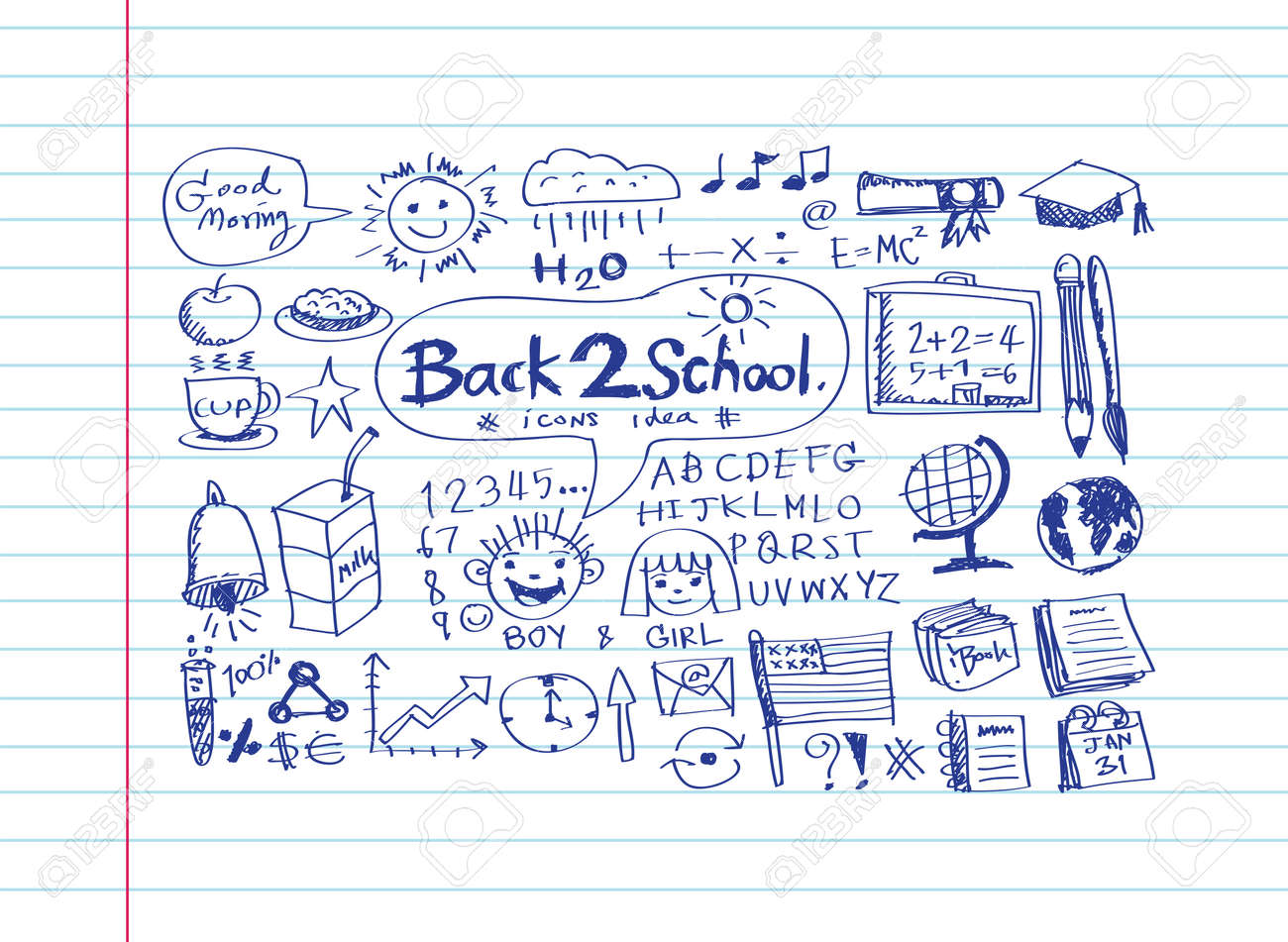 drawing school items Back to School Vector illustration Stock Vector - 26117717
