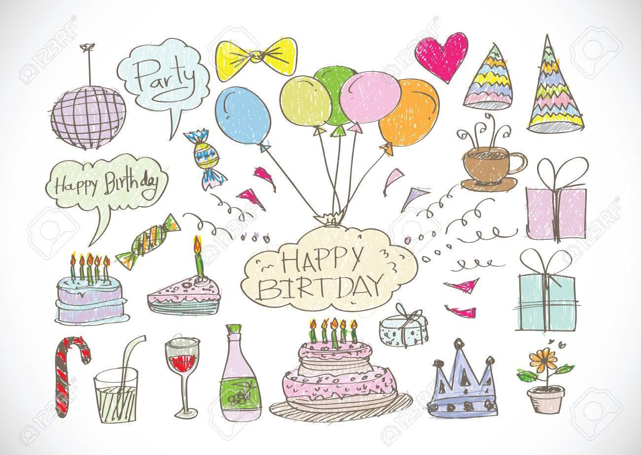 手描きの誕生日いたずら書きベクトル イラストのイラスト素材 ベクタ Image