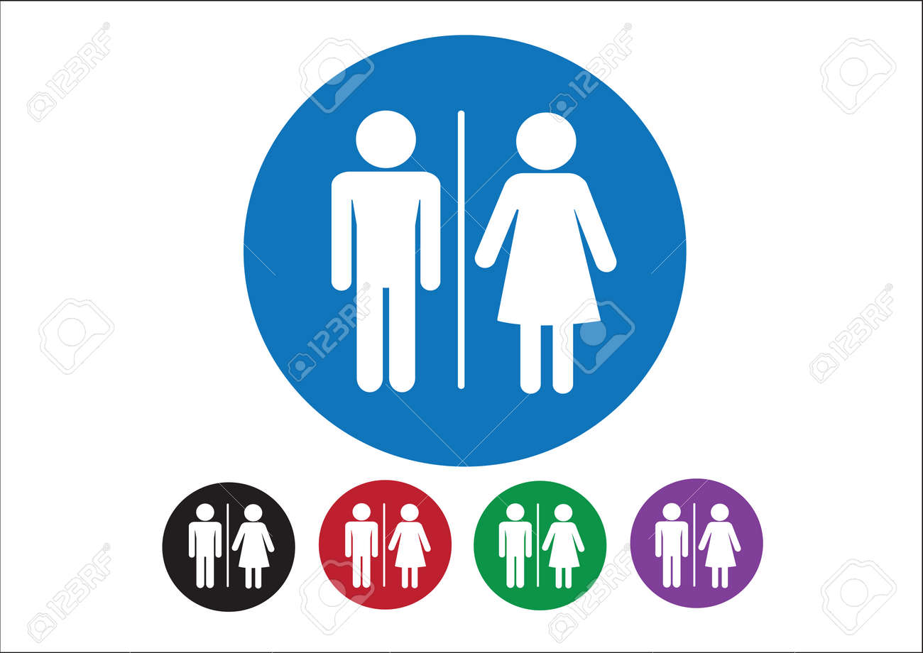 Pictogram Man Woman Sign icons, toilet sign or restroom icon Stock Vector - 30131350