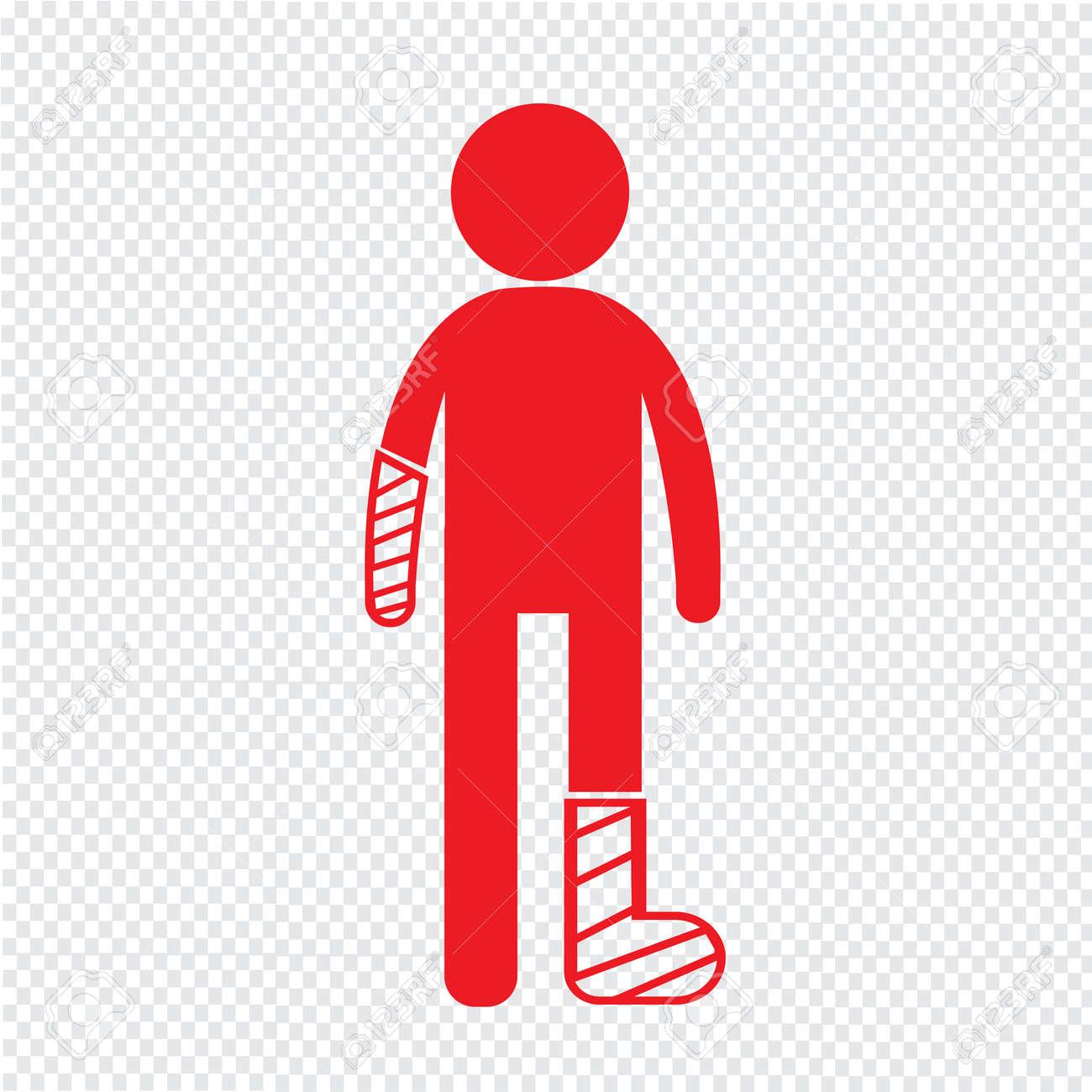 People Broken Arm and Leg Icon Illustration design - 52808679