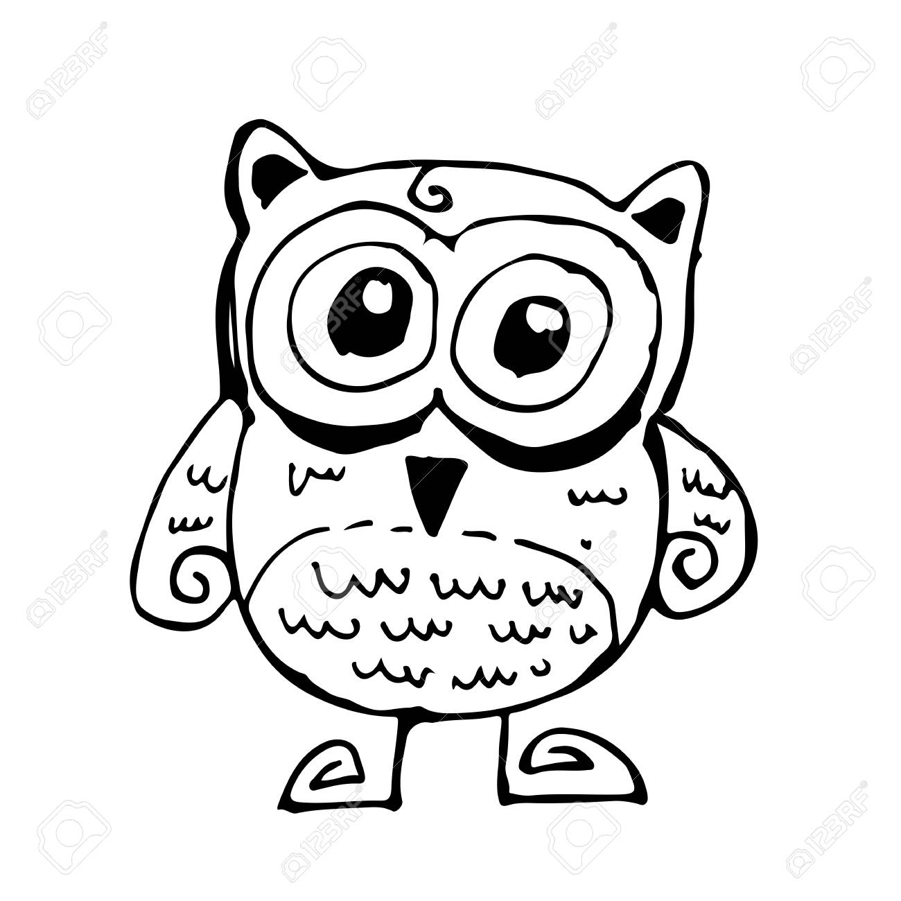 - Doodle Owl Icon Hand Draw Illustration Design And Drawing By