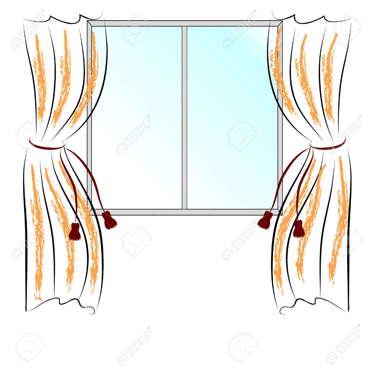 Simple Drawing Window And Two Curtains. Royalty Free Cliparts ... for Window With Curtains Drawing  67qdu