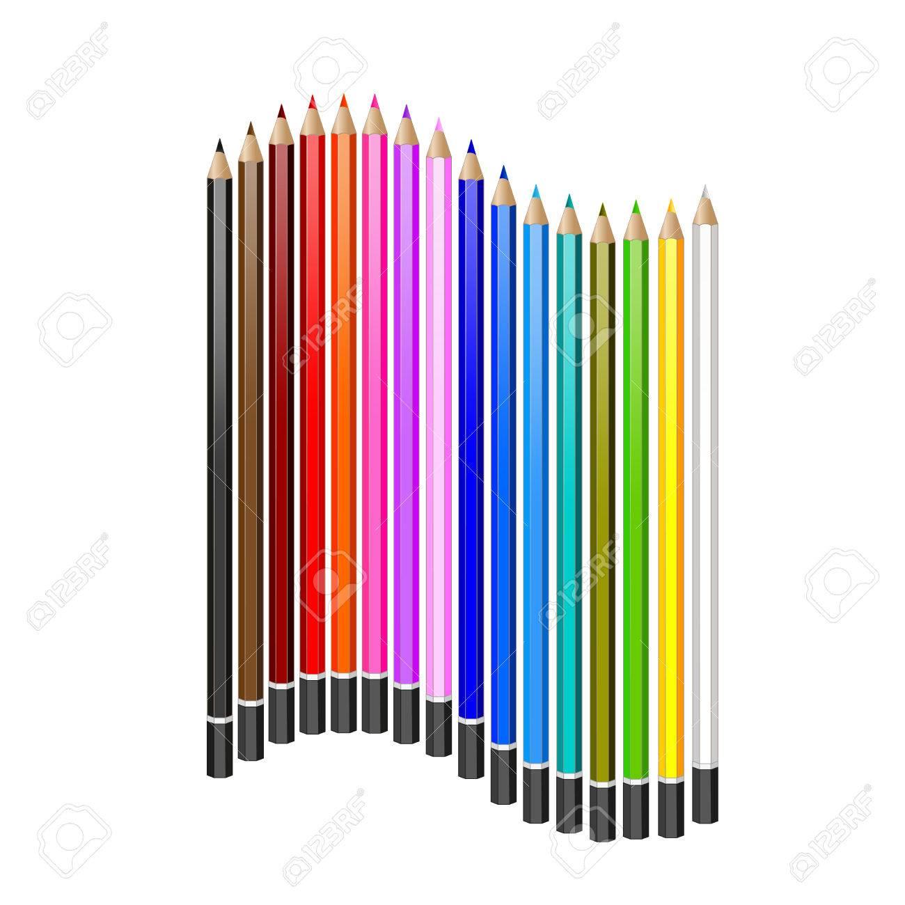 色鉛筆のセットですベクトルのリアルなイラストですのイラスト素材