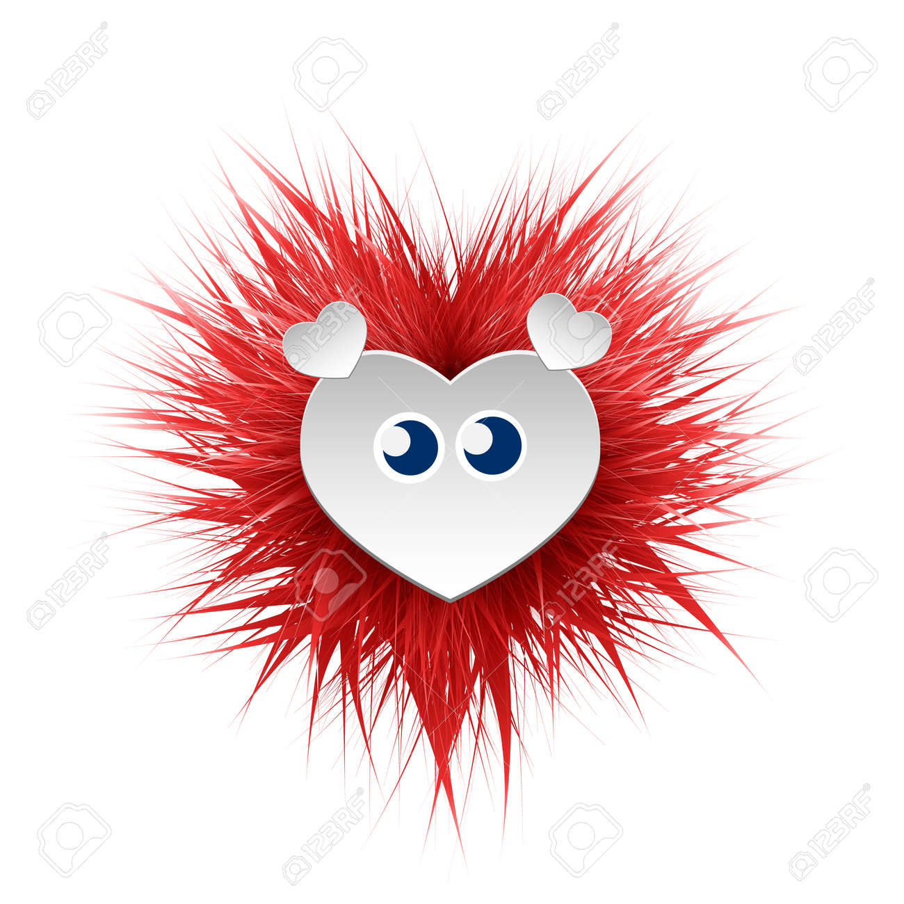 Shaggy Bright Fluffy Monster With Eyes And Ears Can Be Used Royalty Free Cliparts Vectors And Stock Illustration Image 92758467