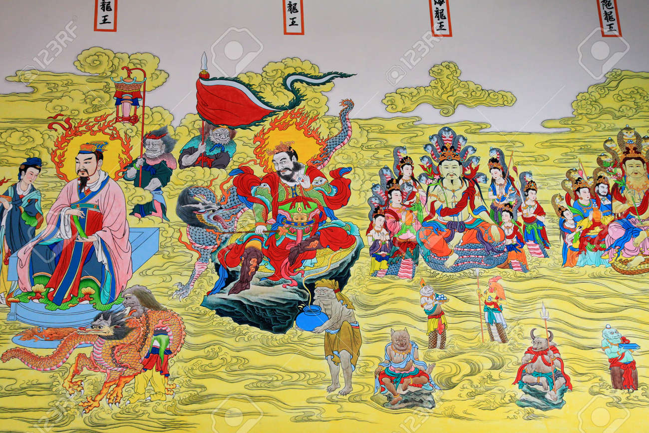 Beautiful pictures of gods and their temple - A Beautiful Painting About Chinese God On A Temple Wall Thailand Stock Photo 11026083