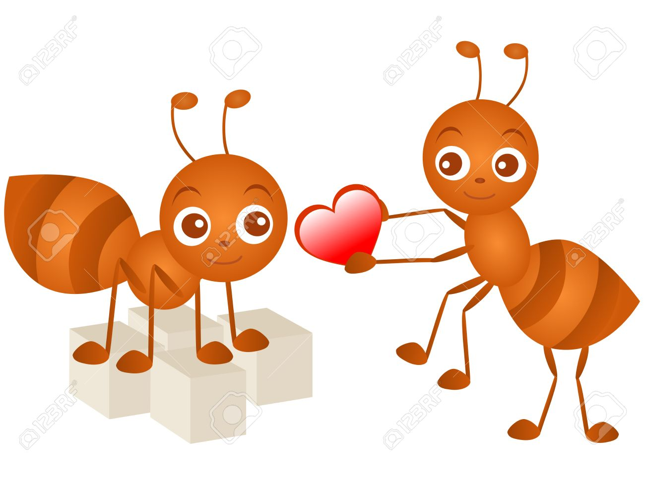 A colorful Theme of cute Icons : Ant in love Stock Vector - 12119555