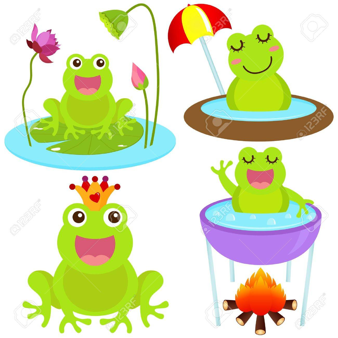 A colorful Theme of cute Icons : Frog in the pond Stock Vector - 12119566