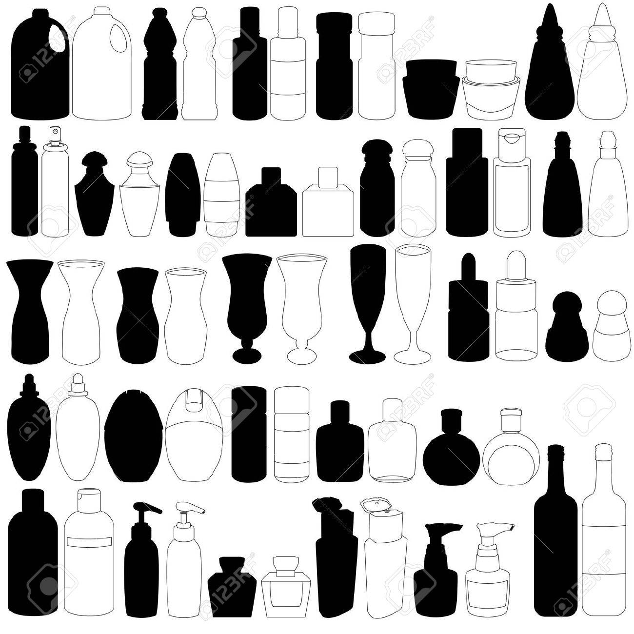 A Silhouette set of bottle, perfume, glass, containers Stock Vector - 12119571
