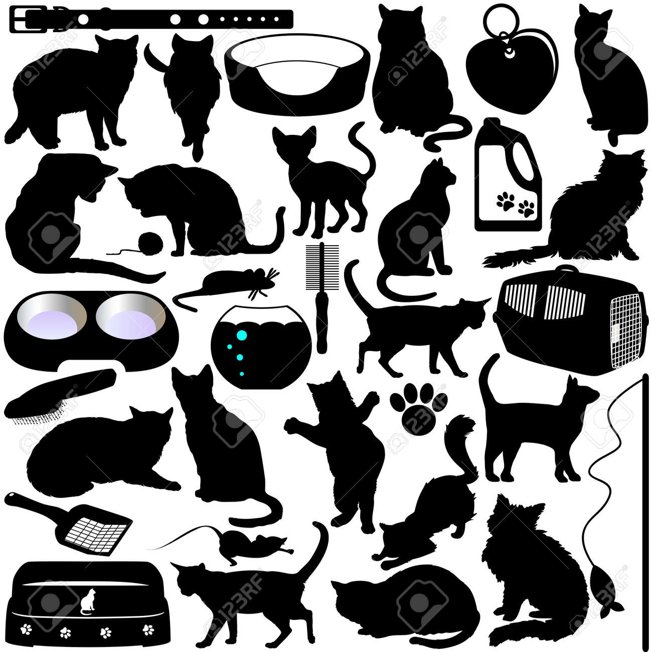 Silhouettes of Cats, Kittens and Accessories Stock Vector - 12119574