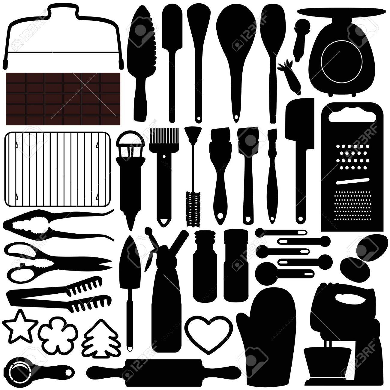 Baking Tools Vector A Silhouettes Collection Of Cooking Baking Tools Royalty Free