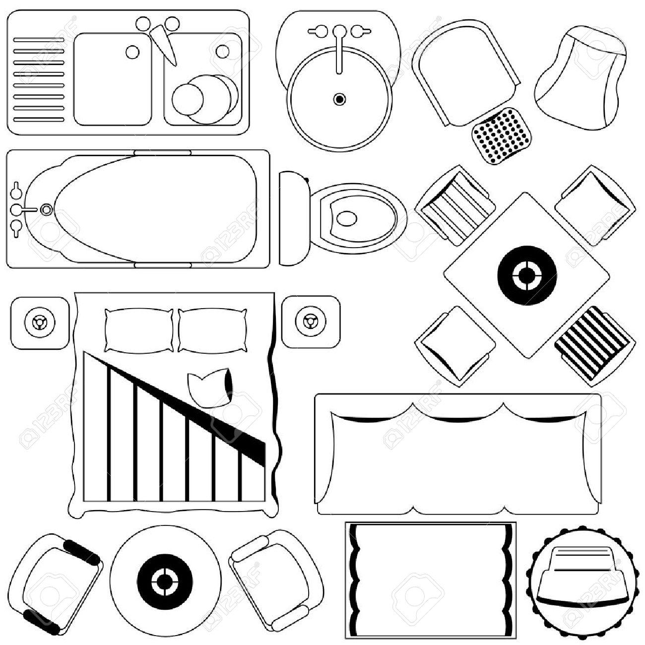 Ic Nes Simple Meubles Plan Plan Clip Art Libres De Droits  # Plan Des Meubles