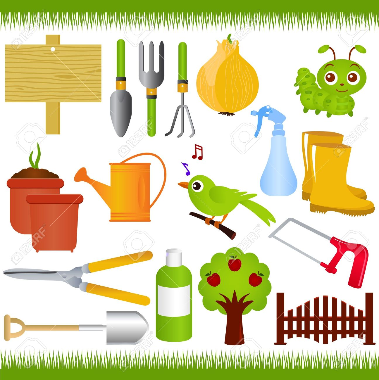 Icons Gardening And Garden Tools Equipments