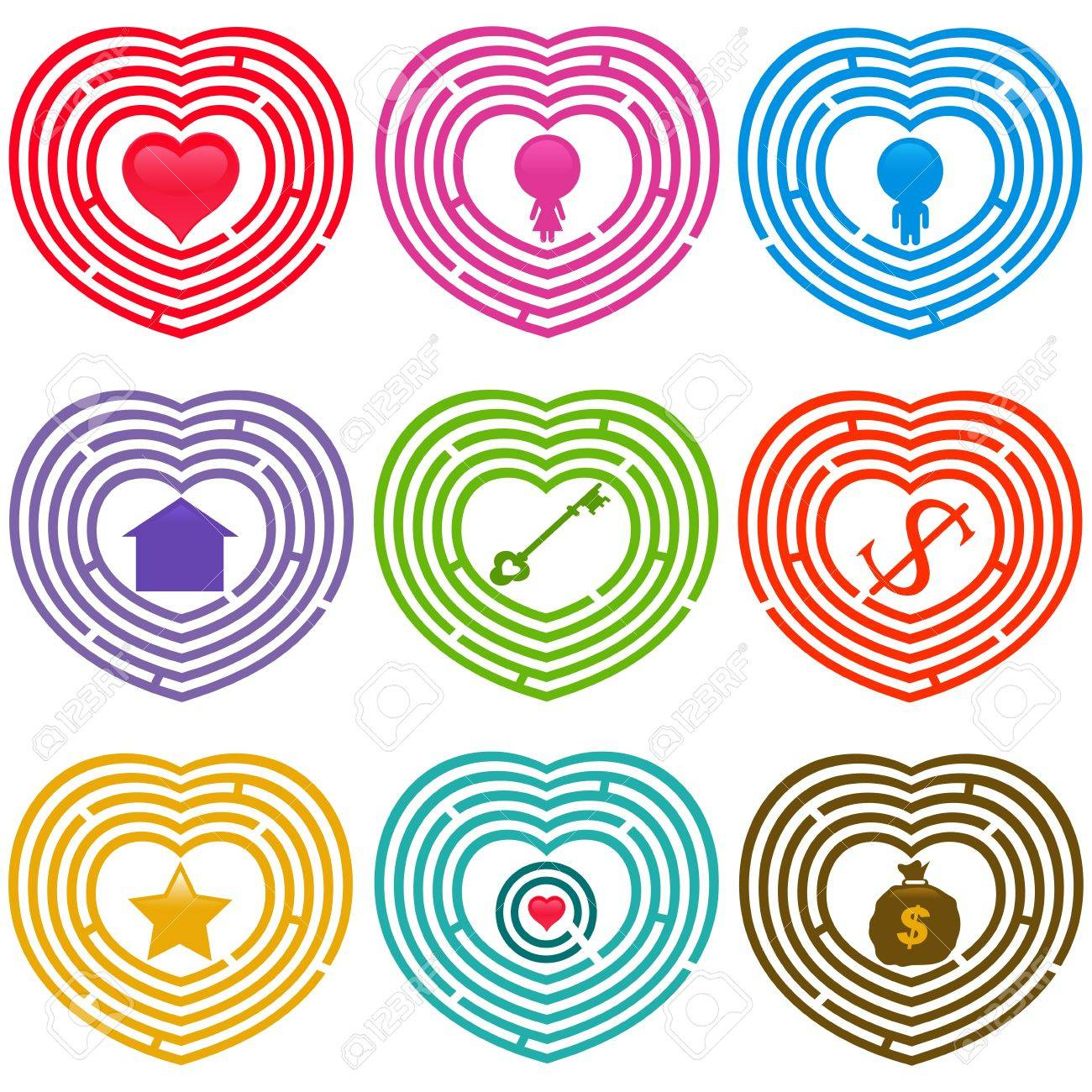 A colorful set of Maze Icons : Targets for life, Labyrinths isolated on white Stock Vector - 12184854