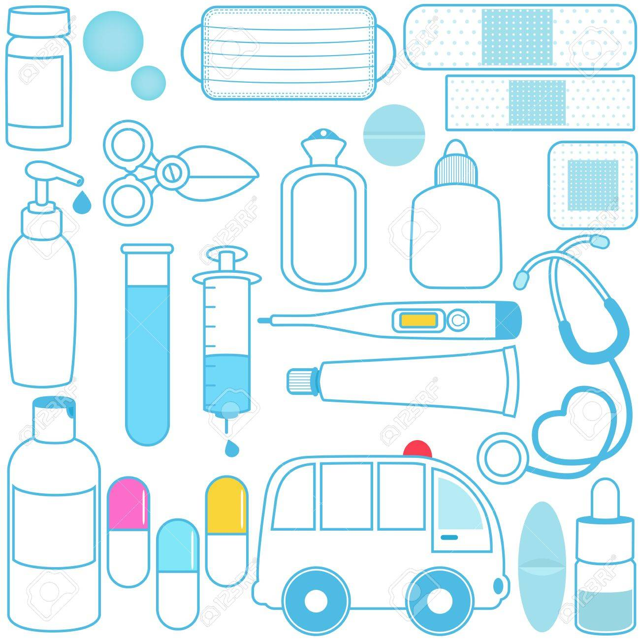 Cute vector icons: Medicines, Pills, Medical Equipments, Blue outline Stock Vector - 12184859