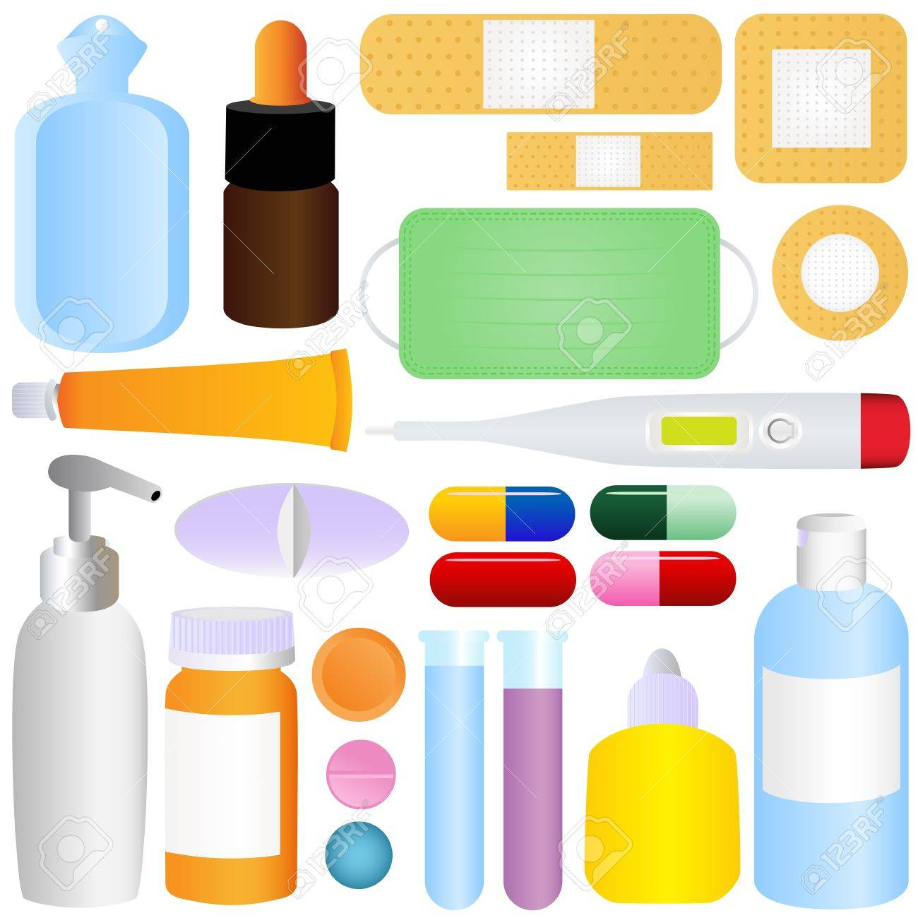 Cute icons: Medicines, Pills, Medical Equipments Stock Vector - 12119611