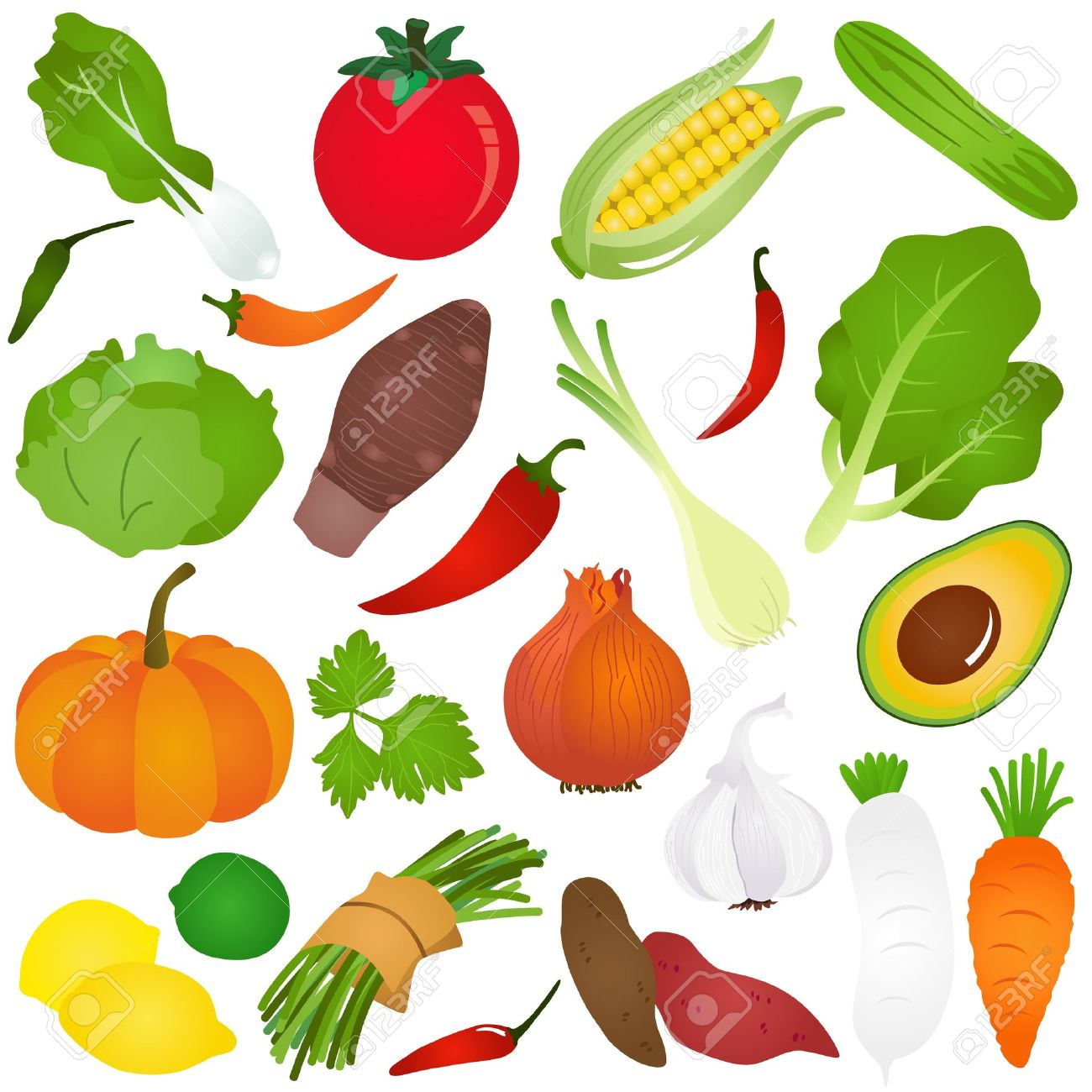 カラフルなかわいいアイコン: 果物、野菜、食品 ロイヤリティフリー