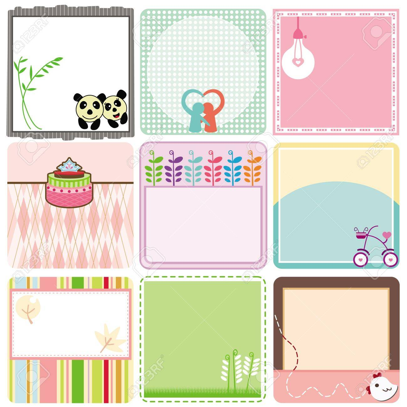 A Cute Collection of Blank Labels  A set of pastel Tags Isolated