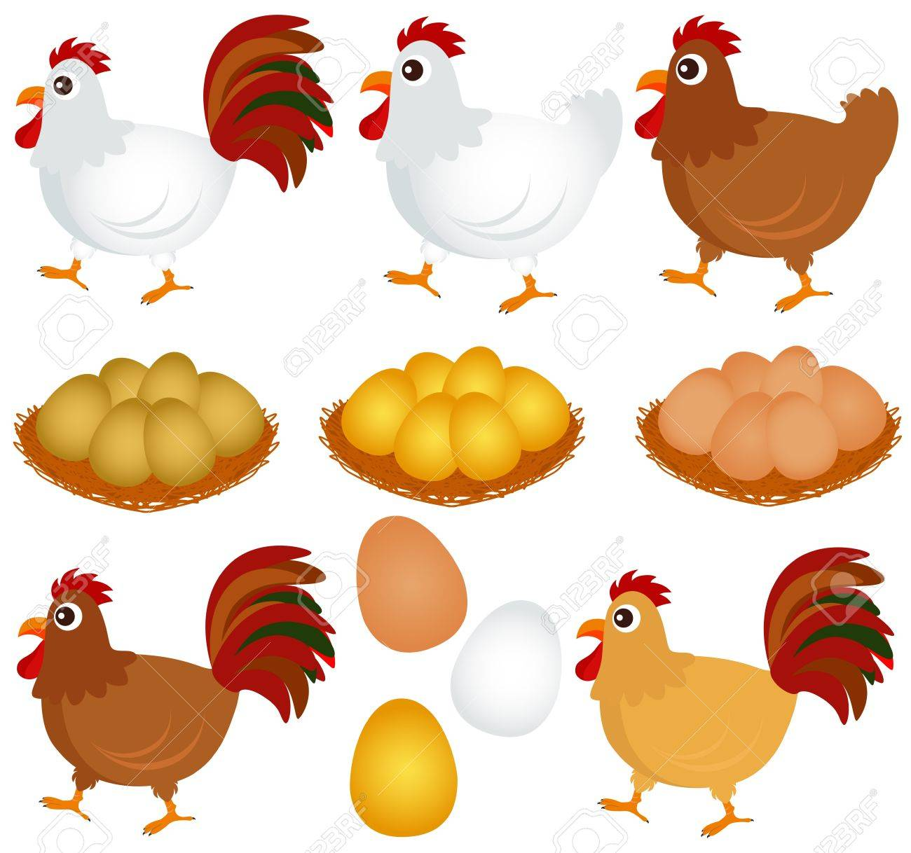 Cute vector Icons : Chicken, Hen, Rooster isolated on white Stock Vector - 12184931