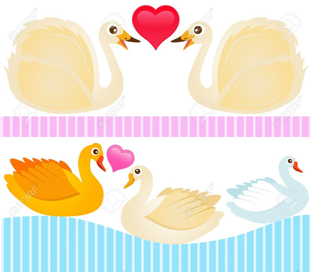A colorful Theme of cute vector Icons : Ducks, Goose, Swan Stock Vector - 12184957