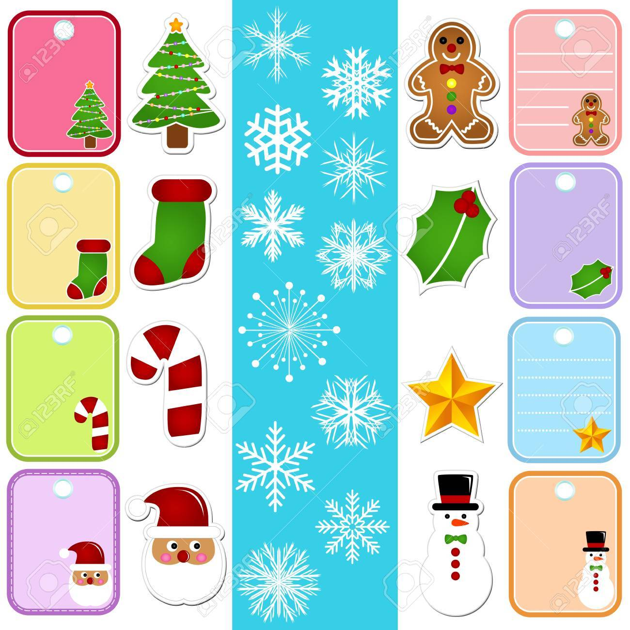 A colorful set of Vector Icons : Snowflake and Christmas Paper Tag/Sticker Stock Vector - 12184898