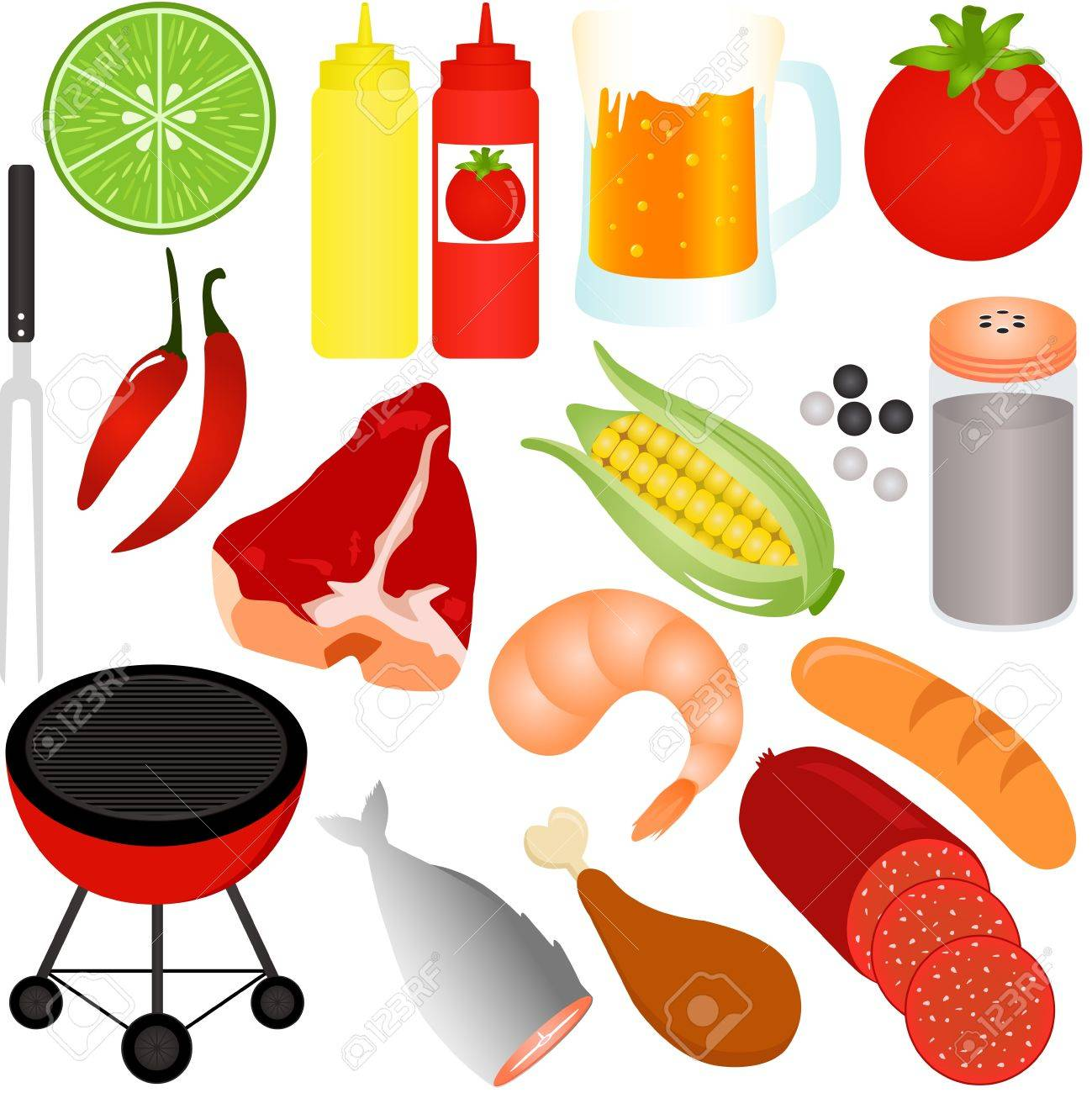A colorful Vector Icons : set of Barbecue (BBQ) theme isolated on white Stock Vector - 12184946