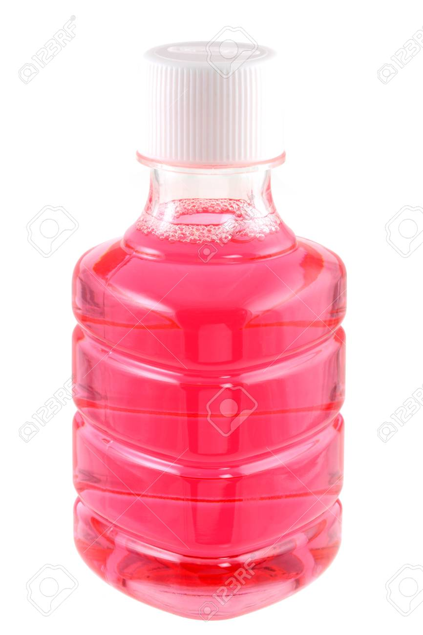 A bottle of pink mouth wash isolated on white Stock Photo - 12198202