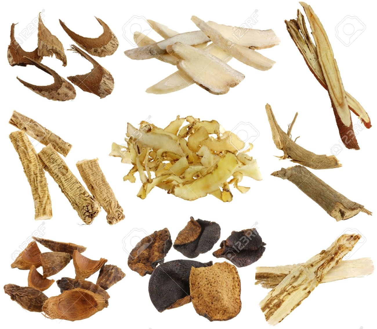 Chinese herbal treatment - Herbal Medicine Assortment Of Dried Chinese Herbs Isolated On White Background White Peony Root