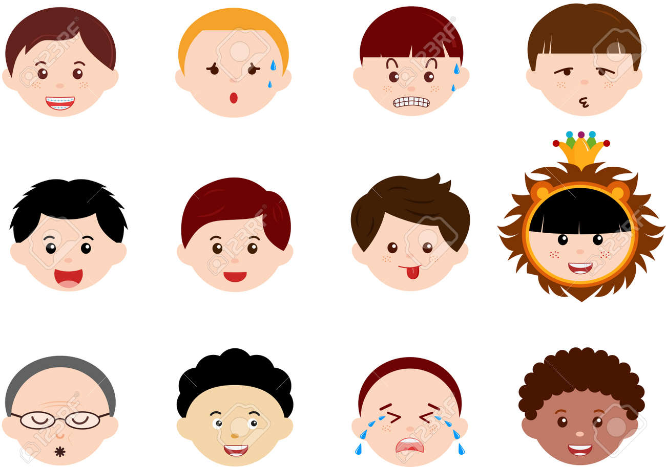 A Theme of cute Icons   Heads of Boys, Men, Kids  Male Set  Different ethnics, isolated on white background Stock Vector - 14015428