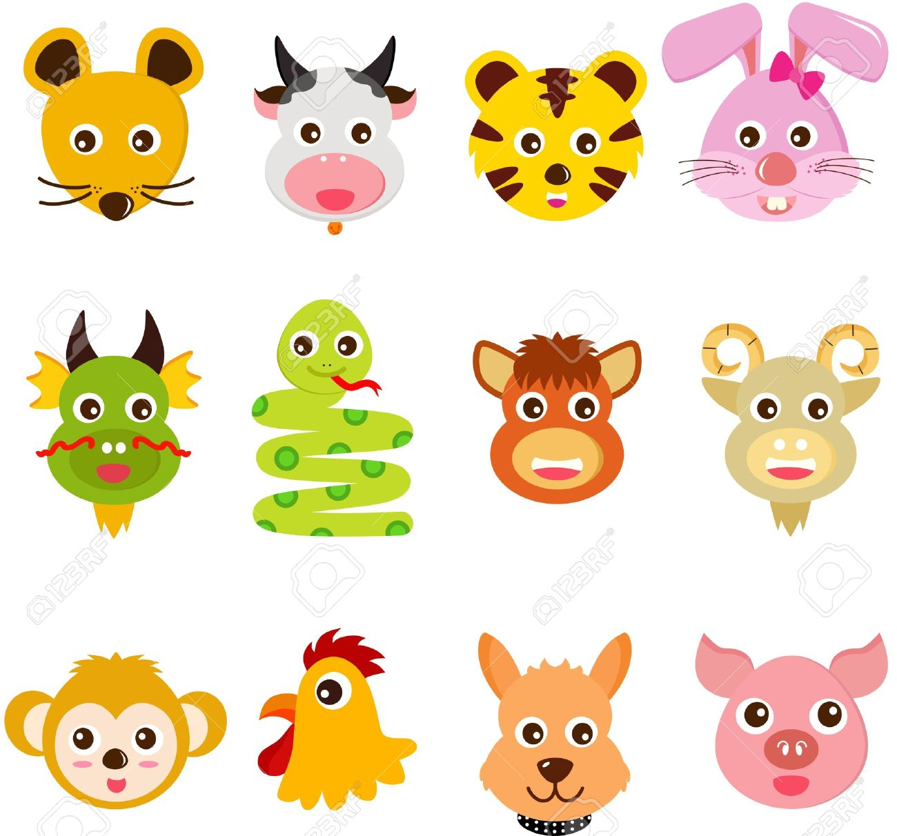 A Set Of Colorful And Cute Icons : Twelve Chinese Zodiac Animals ...