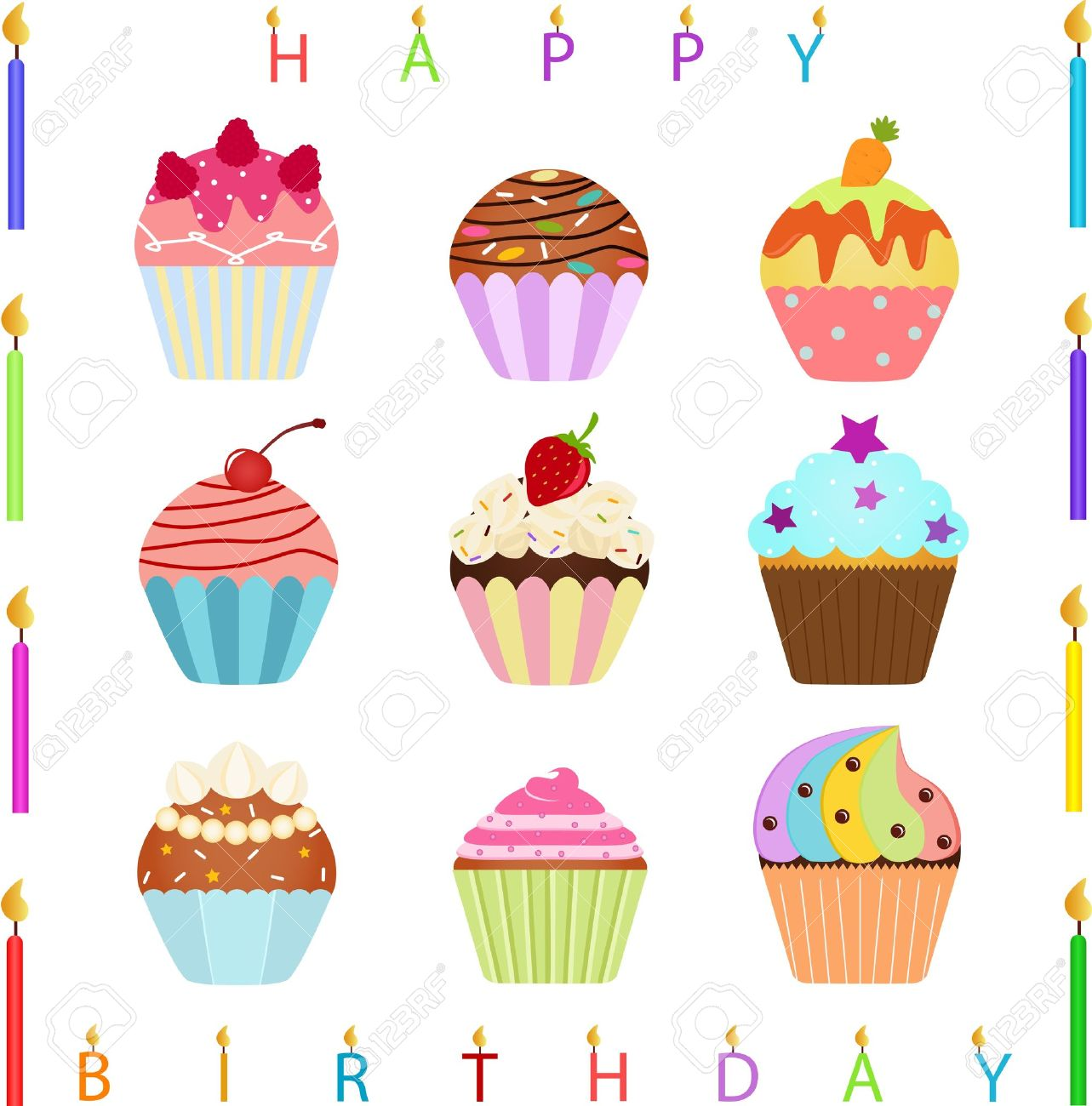 vector Icons   Cute Cupcake with different toppings and Happy Birthday Candles Stock Vector - 14486740