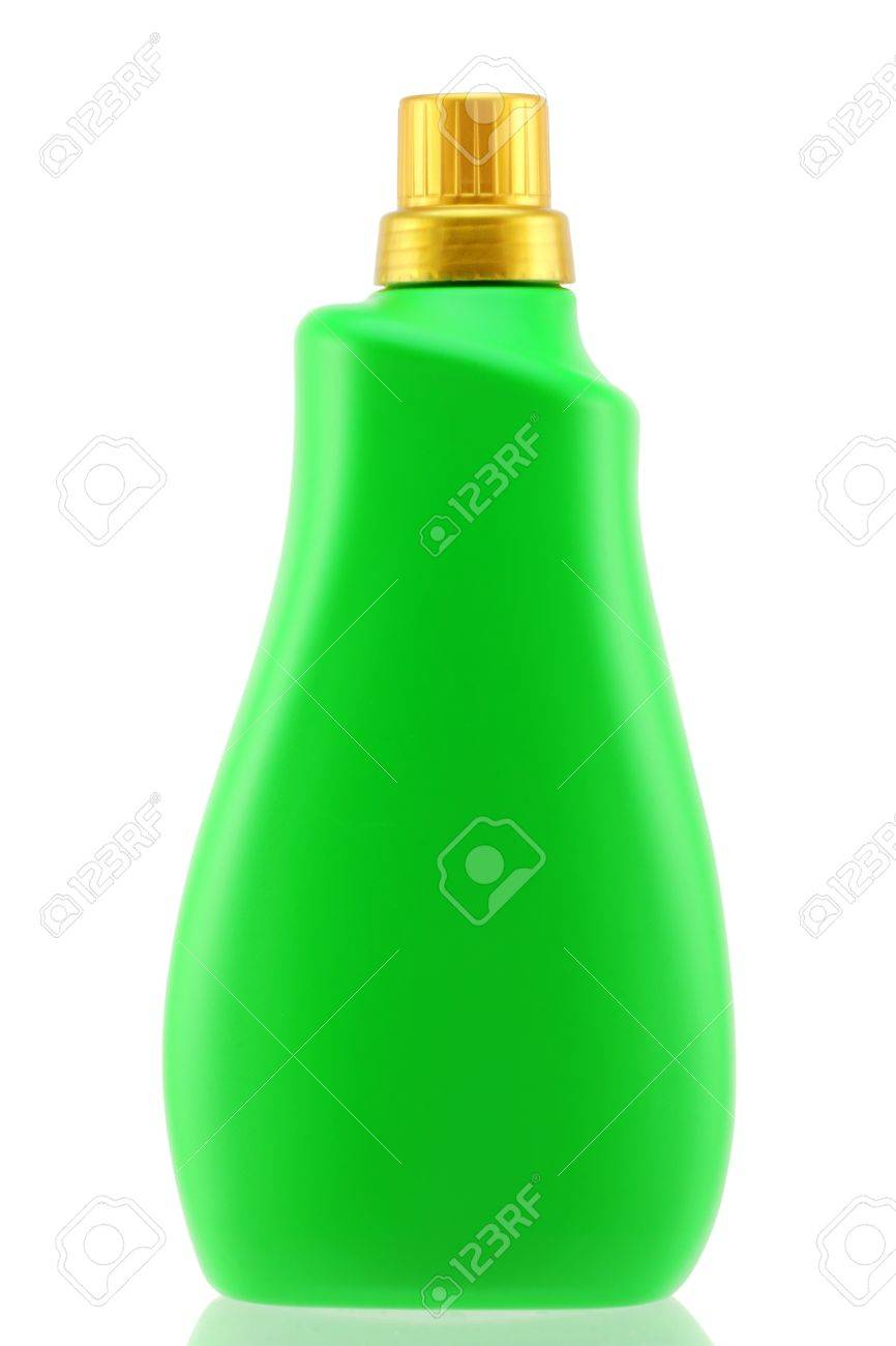 A green bottle of liquid laundry detergent for front-load washing machine,  isolated on white background Stock Photo - 15511103