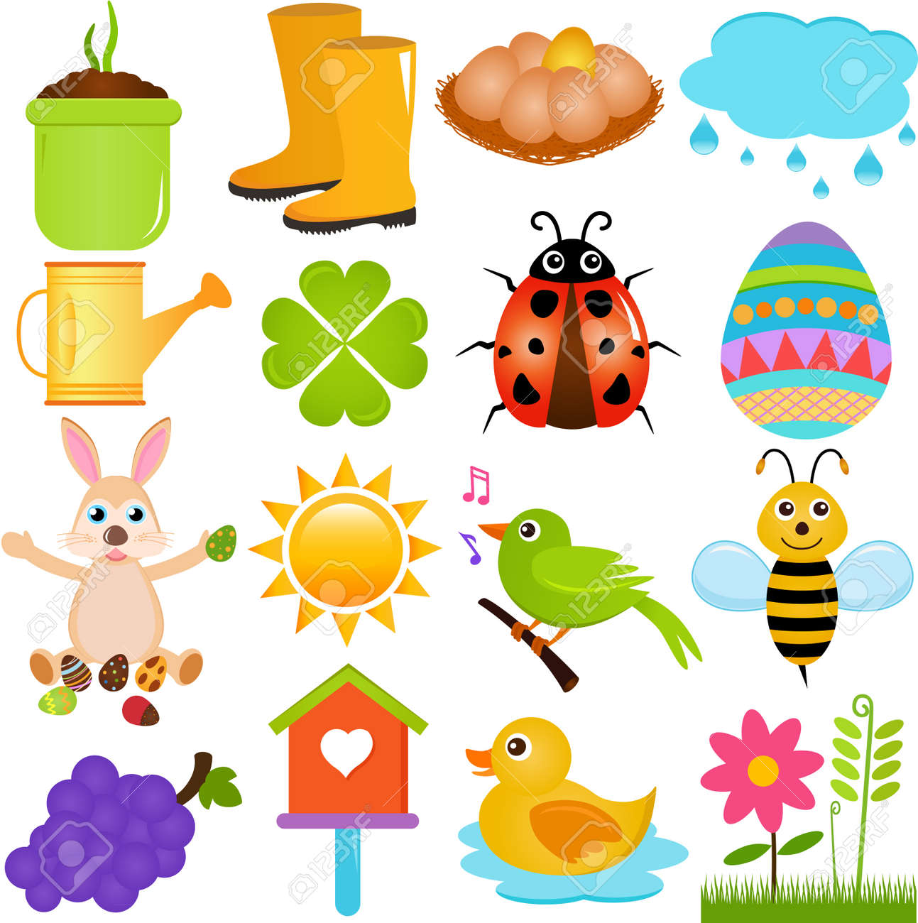 A colorful set of cute Vector Icons   Spring SeasonTheme, isolated on white Stock Vector - 15855720