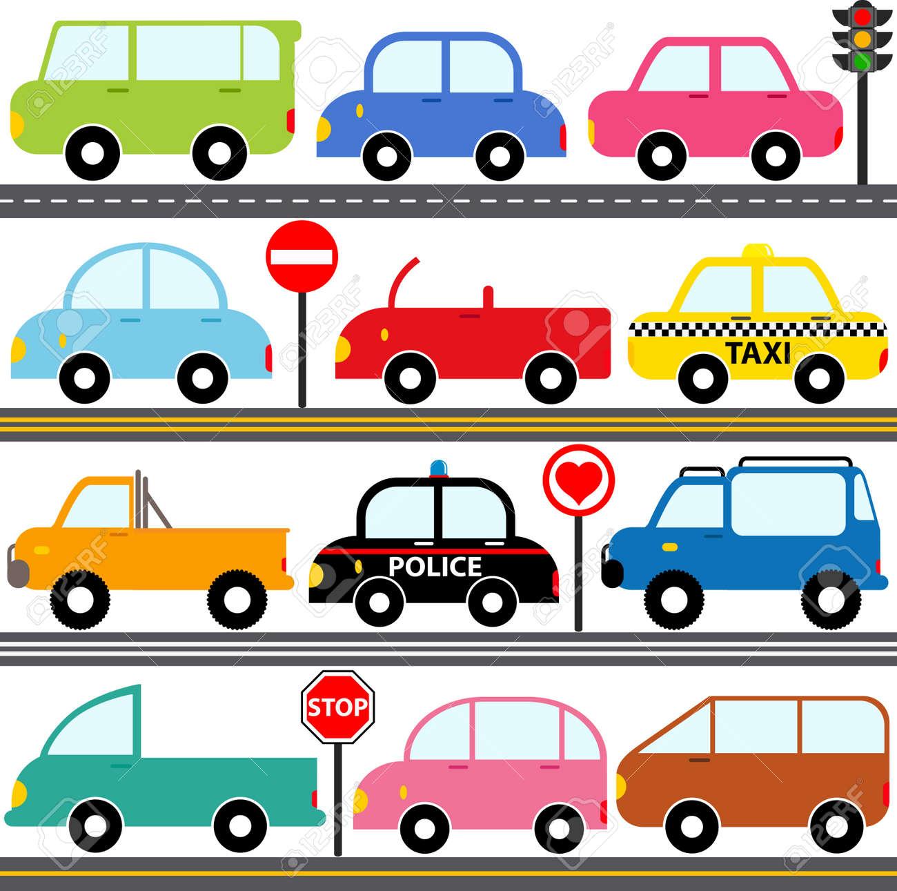 かわいいアイコン車車両輸送のセット ロイヤリティフリークリップ