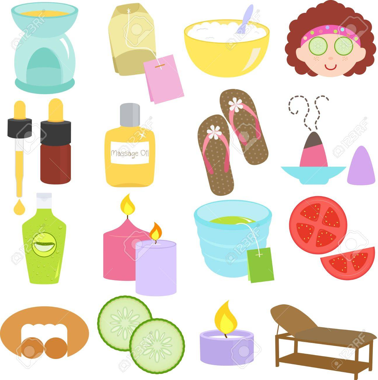 A set of Beauty tools, Spa Icons, Relaxation, Massage in Pastel Stock Vector - 16138208