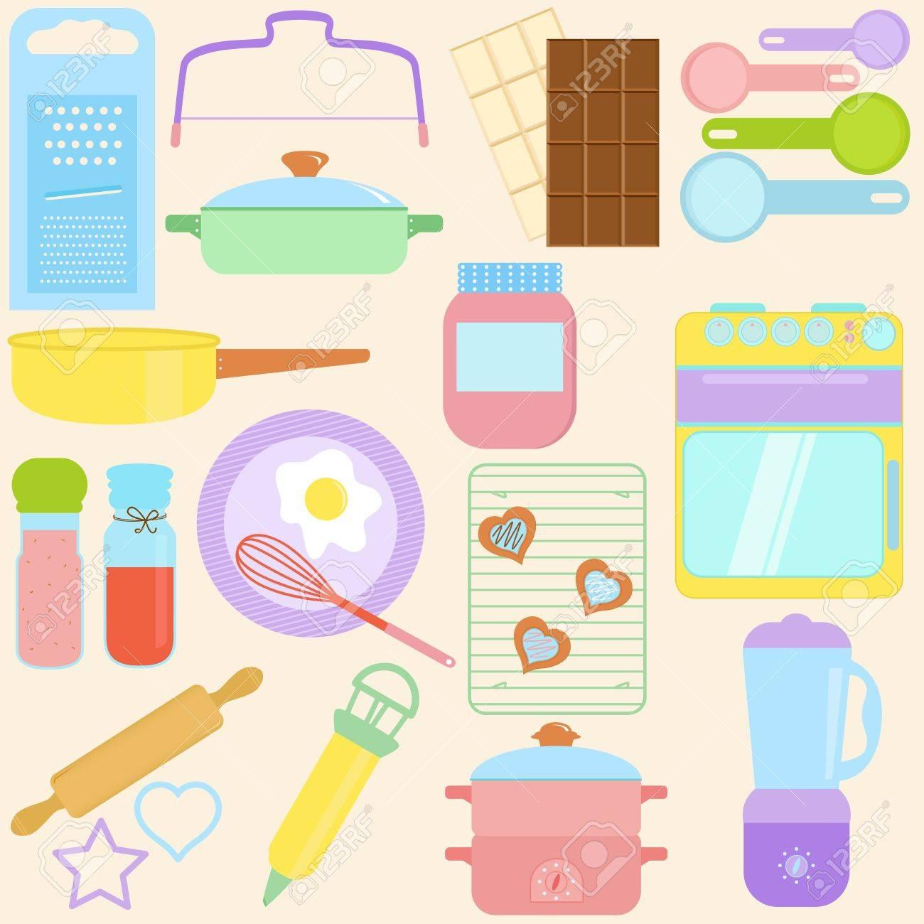 raccolta di cucina, strumenti di cottura in pastello clipart ... - Strumenti Cucina